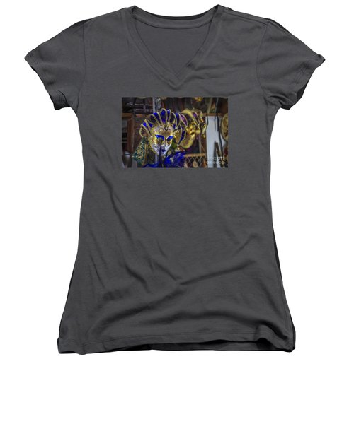 Venetian Carnival Masks Cadiz Spain Women's V-Neck T-Shirt
