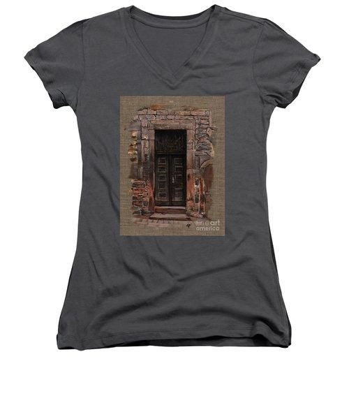 Women's V-Neck T-Shirt (Junior Cut) featuring the painting Venetian Door 02 Elena Yakubovich by Elena Yakubovich