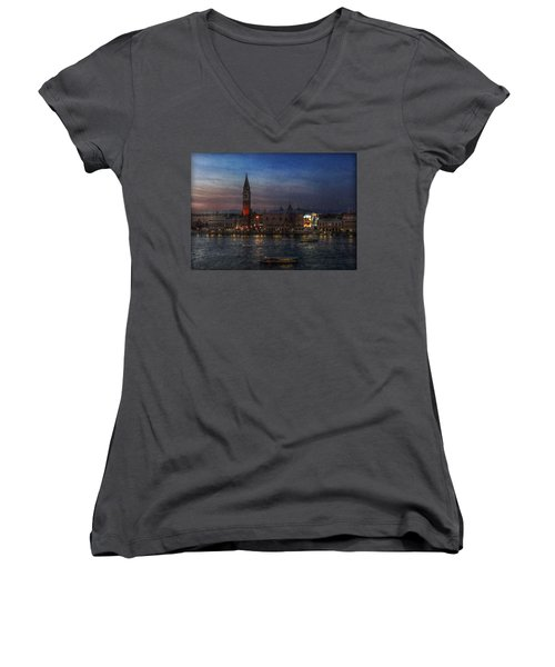 Women's V-Neck T-Shirt (Junior Cut) featuring the photograph Venice By Night by Hanny Heim