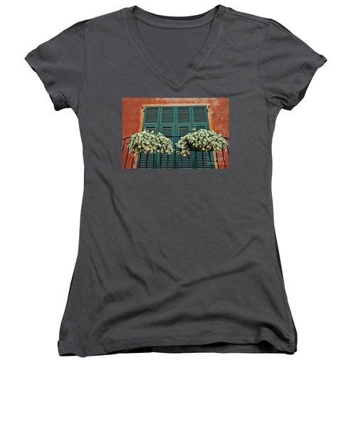 Women's V-Neck T-Shirt (Junior Cut) featuring the photograph Venice Flower Balcony 2 by Allen Beatty
