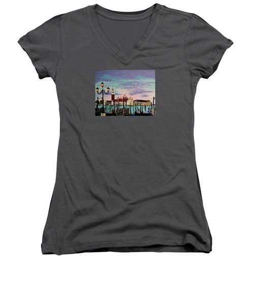 Venice  Italy By Jasna Gopic Women's V-Neck T-Shirt (Junior Cut) by Jasna Gopic