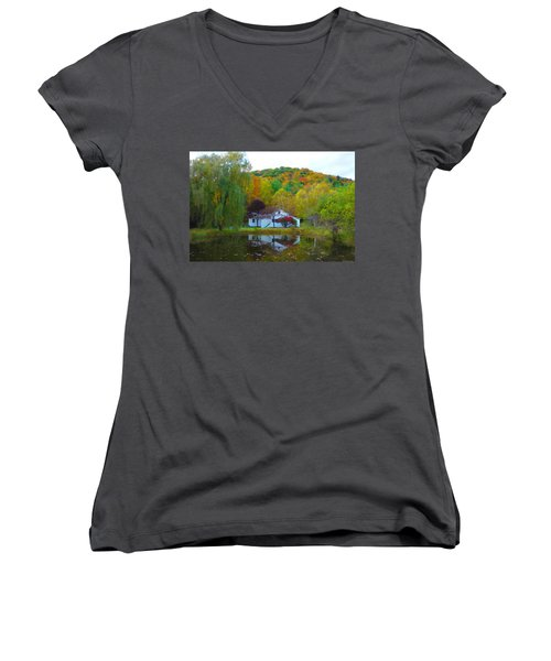 Vermont House In Full Autumn Women's V-Neck