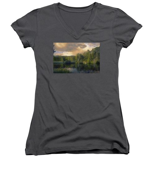 Vermont Morning Reflection Women's V-Neck T-Shirt (Junior Cut) by Jeff Kolker