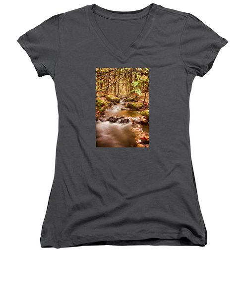 Women's V-Neck T-Shirt (Junior Cut) featuring the photograph Vermont Stream by Jeff Folger