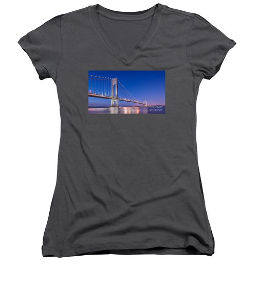 Verrazano Bridge Before Sunrise  Women's V-Neck T-Shirt (Junior Cut)