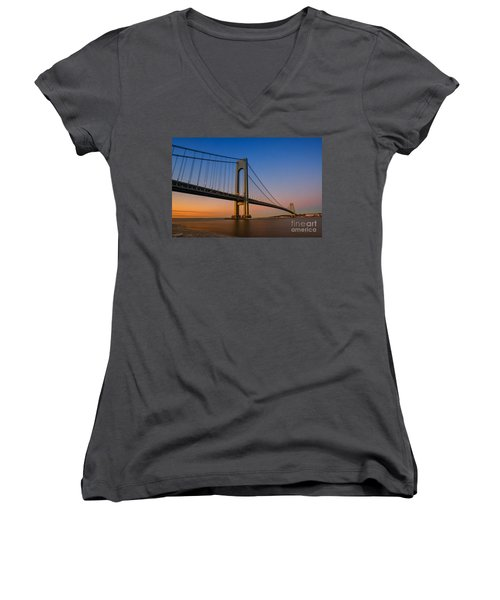 Verrazano Bridge Sunrise  Women's V-Neck T-Shirt (Junior Cut)
