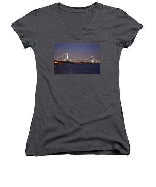 Verrazano Narrows Bridge At Night Women's V-Neck (Athletic Fit)
