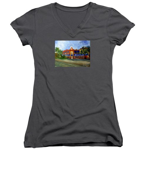 Vic And Angelos In Downtown Delray Beach Women's V-Neck T-Shirt (Junior Cut) by Donna Walsh