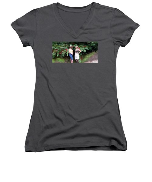 Women's V-Neck T-Shirt (Junior Cut) featuring the painting Victoria And Friend by Bruce Nutting