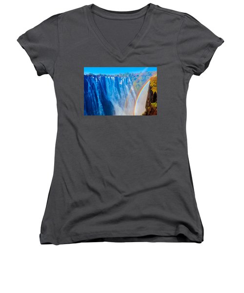 Victoria Falls Double Rainbow Women's V-Neck T-Shirt (Junior Cut) by Jeff at JSJ Photography