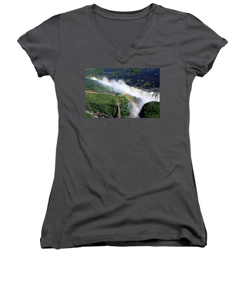 Rainbow Over Victoria Falls  Women's V-Neck T-Shirt (Junior Cut) by Aidan Moran