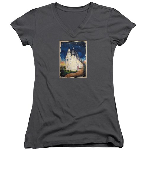 The Victorian Apartment Building By Rjfxx. Original Watercolor Painting. Women's V-Neck T-Shirt (Junior Cut) by RjFxx at beautifullart com