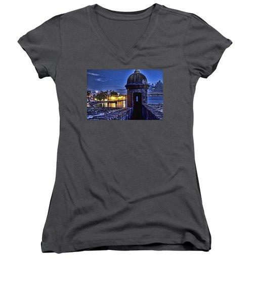 Women's V-Neck T-Shirt (Junior Cut) featuring the photograph Viejo San Juan En La Noche by Daniel Sheldon