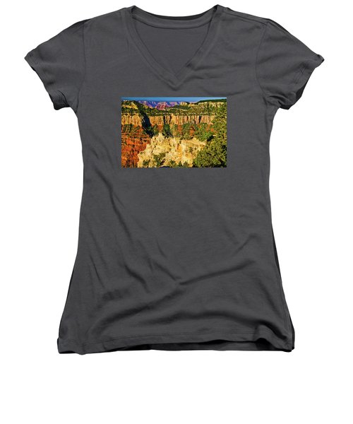 Women's V-Neck T-Shirt (Junior Cut) featuring the photograph View From Angel Point  by Bob and Nadine Johnston