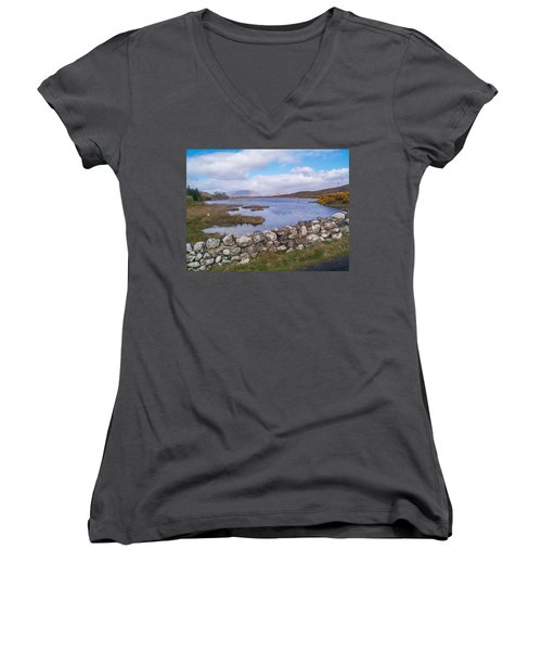 Women's V-Neck T-Shirt featuring the photograph View From Quiet Man Bridge Oughterard Ireland by Charles Kraus