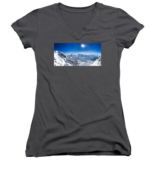 View From Titlis Mountain Towards The South Women's V-Neck T-Shirt (Junior Cut) by Carsten Reisinger
