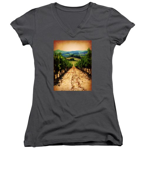 Women's V-Neck T-Shirt (Junior Cut) featuring the photograph Vigneto Toscana by Micki Findlay