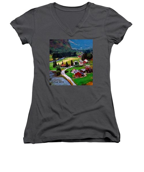Women's V-Neck T-Shirt (Junior Cut) featuring the painting Village In The Mountains by Bruce Nutting