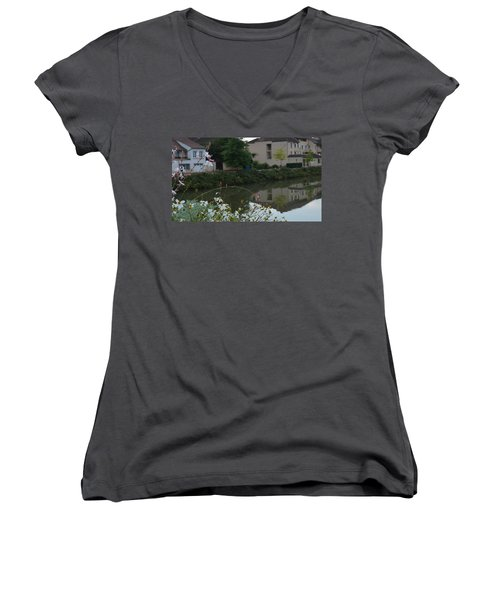 Village Life Women's V-Neck T-Shirt (Junior Cut) by Cheryl Miller