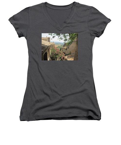 Women's V-Neck T-Shirt (Junior Cut) featuring the photograph Village Vista by Pema Hou