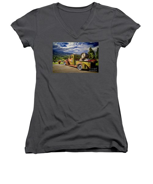Vintage Chevy Truck At Oliver Twist Winery Women's V-Neck (Athletic Fit)