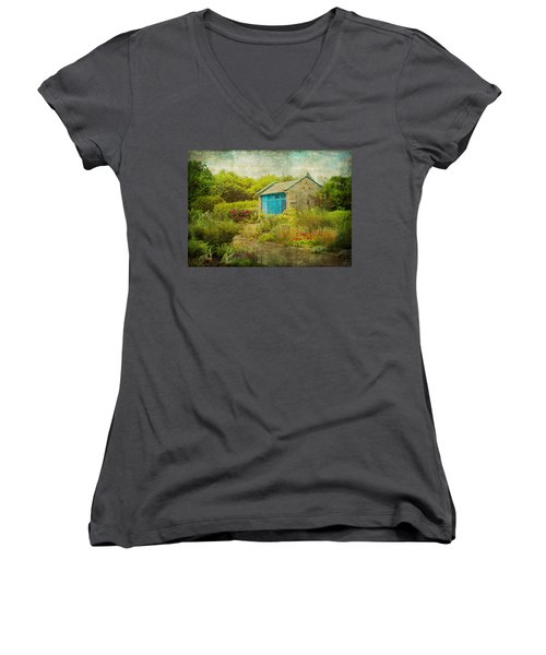 Vintage Inspired Garden Shed With Blue Door Women's V-Neck T-Shirt (Junior Cut) by Brooke T Ryan