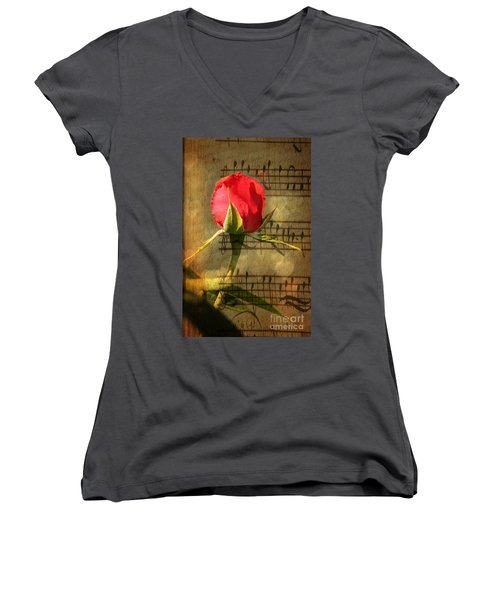 Women's V-Neck T-Shirt (Junior Cut) featuring the photograph Vintage Love Story Symphony by Judy Palkimas