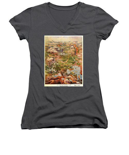 Vintage Map Of Yellowstone National Park Women's V-Neck (Athletic Fit)