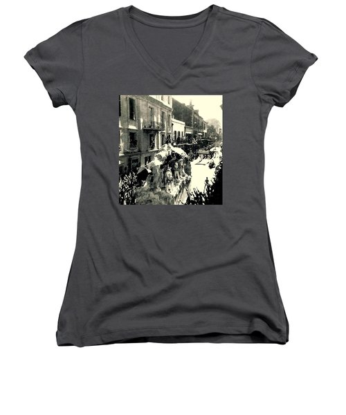 Women's V-Neck T-Shirt (Junior Cut) featuring the photograph New Orleans Vintage Mardi Gras In The French Quarter Of  Louisiana  1960 by Michael Hoard