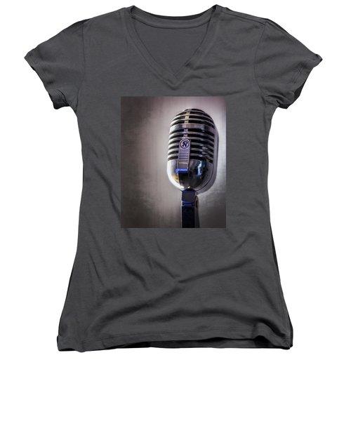 Vintage Microphone 2 Women's V-Neck (Athletic Fit)