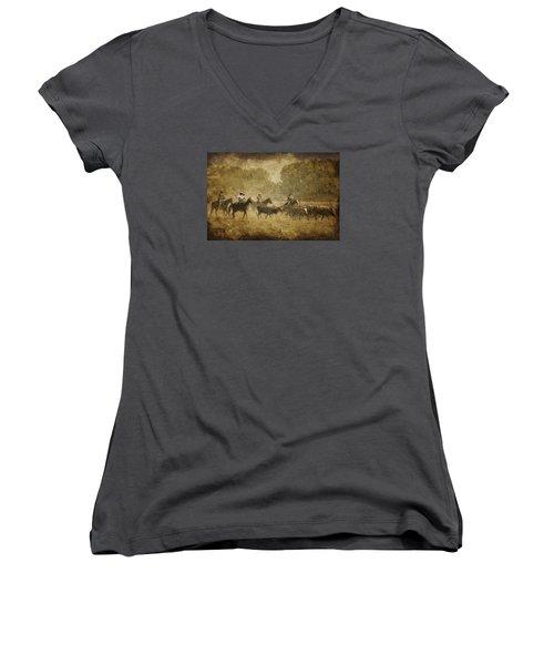 Vintage Roundup Women's V-Neck T-Shirt (Junior Cut) by Priscilla Burgers