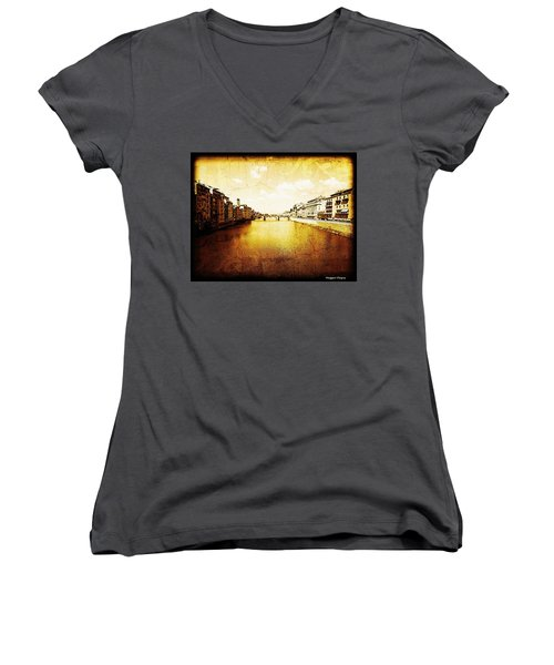 Vintage View Of River Arno Women's V-Neck T-Shirt