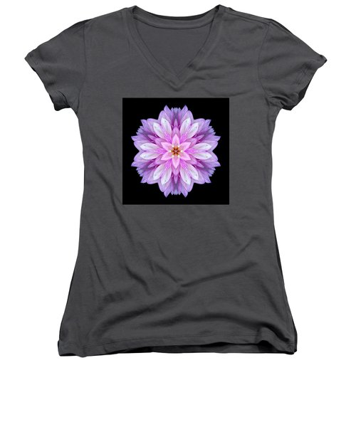 Violet Dahlia I Flower Mandala Women's V-Neck (Athletic Fit)