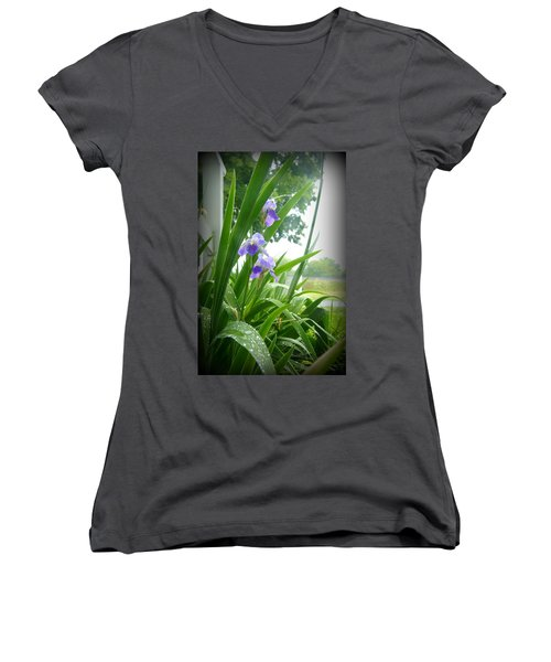 Women's V-Neck T-Shirt (Junior Cut) featuring the photograph Iris With Dew by Laurie Perry