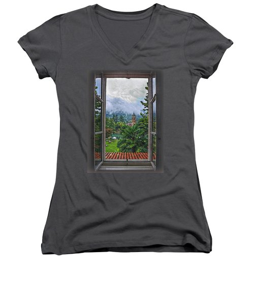 Vision Through The Window Women's V-Neck T-Shirt (Junior Cut) by Hanny Heim
