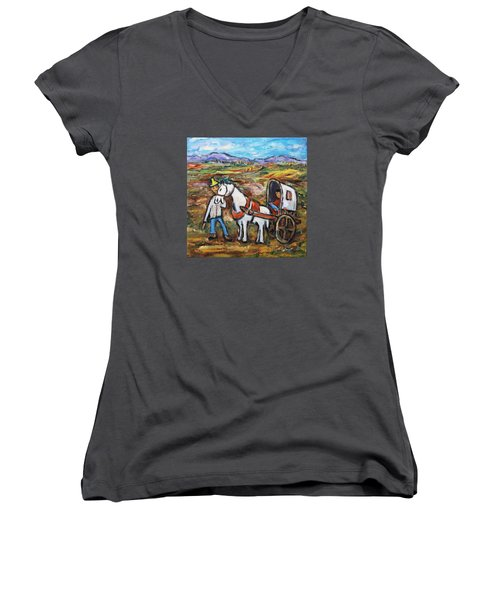 Women's V-Neck T-Shirt (Junior Cut) featuring the painting Visit The In-laws by Xueling Zou