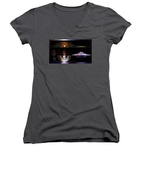 Women's V-Neck T-Shirt (Junior Cut) featuring the digital art Visitor To Atlantis by Hartmut Jager