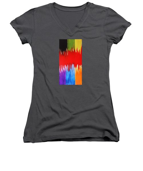 Women's V-Neck T-Shirt (Junior Cut) featuring the painting Voice by Michael Cross