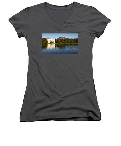 Women's V-Neck T-Shirt (Junior Cut) featuring the photograph Von Trapp's Mansion by Silvia Bruno