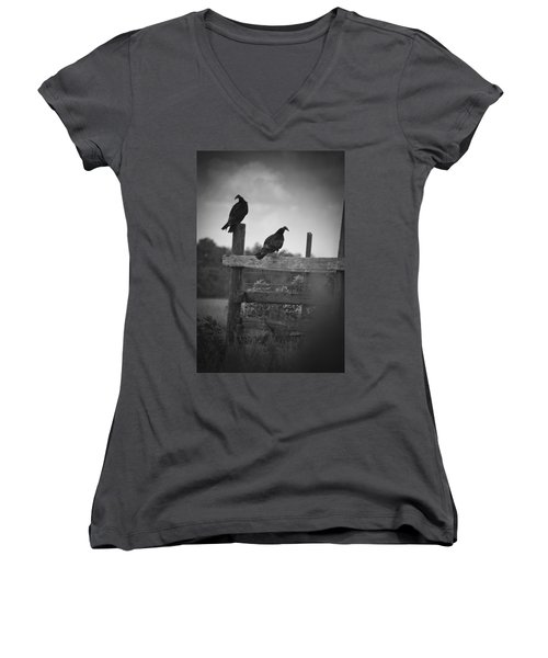 Vultures On Fence Women's V-Neck T-Shirt (Junior Cut) by Bradley R Youngberg