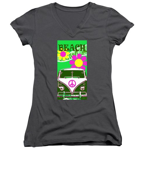 Vw Beach  Green Women's V-Neck (Athletic Fit)