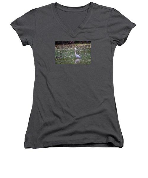 Women's V-Neck T-Shirt (Junior Cut) featuring the photograph Wading Crane by Susan  McMenamin