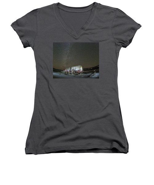 Wagon Train Under Night Sky Women's V-Neck (Athletic Fit)