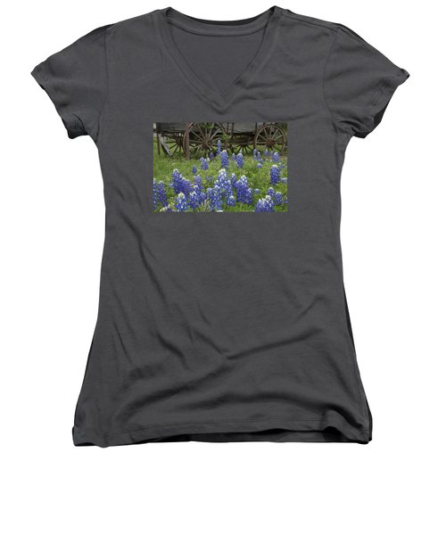 Wagon With Bluebonnets Women's V-Neck T-Shirt (Junior Cut) by Susan Rovira