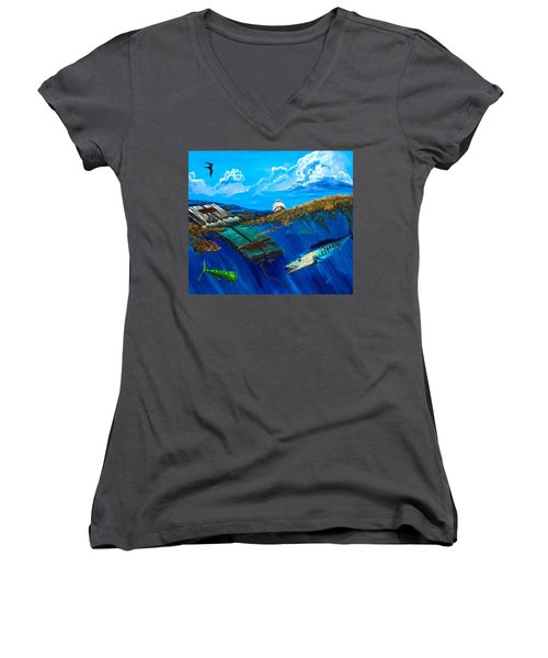Wahoo Under Board Women's V-Neck T-Shirt