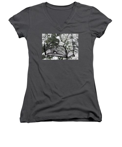 Women's V-Neck T-Shirt (Junior Cut) featuring the photograph Waiting For Spring by Katie Wing Vigil