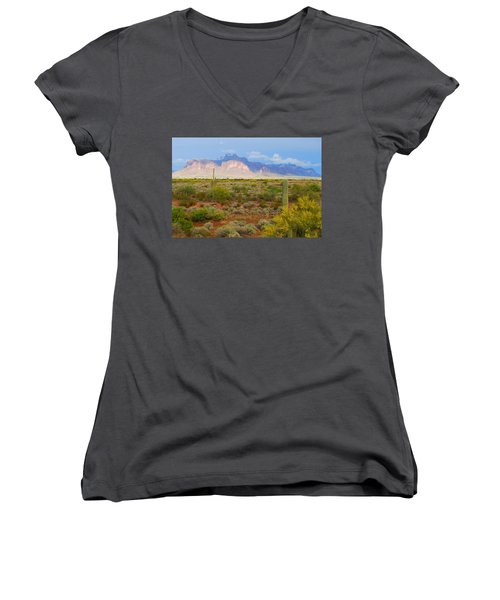 Women's V-Neck T-Shirt (Junior Cut) featuring the photograph 16x20 Canvas - Superstition Mountain Light by Tam Ryan