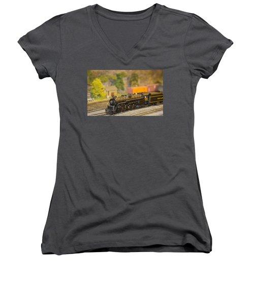 Waiting Model Train  Women's V-Neck T-Shirt (Junior Cut) by Patrice Zinck