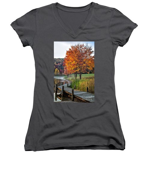 Walk Into Fall Women's V-Neck T-Shirt (Junior Cut) by Ronald Lutz