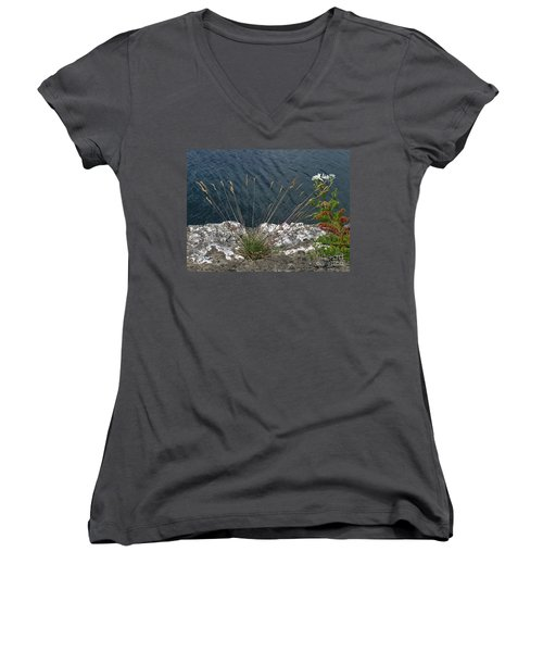 Women's V-Neck T-Shirt (Junior Cut) featuring the photograph Flowers In Rock by Brenda Brown